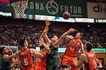 League ACB-ENDESA 2017/2018. Game: 30.<br /> Divina Seguros Joventut vs Valencia Baket Club: 77-75.<br /> Aaron Doomekamp, Alberto Abalde &amp; Simon Birgander.