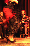 A Flamenco dancer and musician performing on a stage. Madrid. Spain