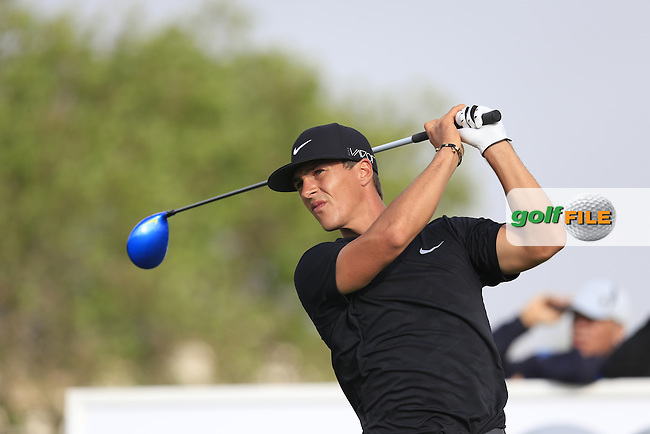 Thorbjorn OLESEN (DEN) tees off the 9th tee during Saturday's Round 3 of the Portugal Masters 2015 held at the Oceanico Victoria Golf Course, Vilamoura Algarve, Portugal. 15-18th October 2015.<br /> Picture: Eoin Clarke | Golffile<br /> <br /> <br /> <br /> All photos usage must carry mandatory copyright credit (&copy; Golffile | Eoin Clarke)