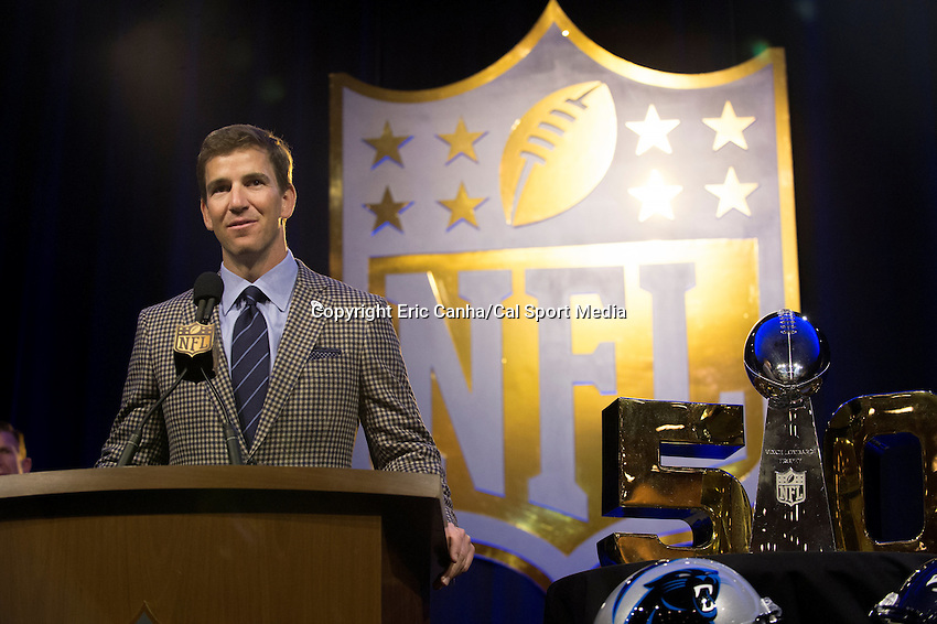 Friday, February 5, 2016: Eli Manning of the New York Giants, speaks at a press conference where he was announced as a finalist for the Walter Payton Man of the Year award at the Moscone Center in San Francisco, California during the National Football League week long opening celebrations for Super Bowl 50 between the Carolina Panthers and the Denver Broncos. Eric Canha/CSM
