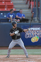John Schuknecht (48) of the Cal Poly Mustangs bats during a game against the Cal State Fullerton Titans at Goodwin Field on April 2, 2015 in Fullerton, California. Cal Poly defeated Cal State Fullerton, 5-0. (Larry Goren/Four Seam Images)