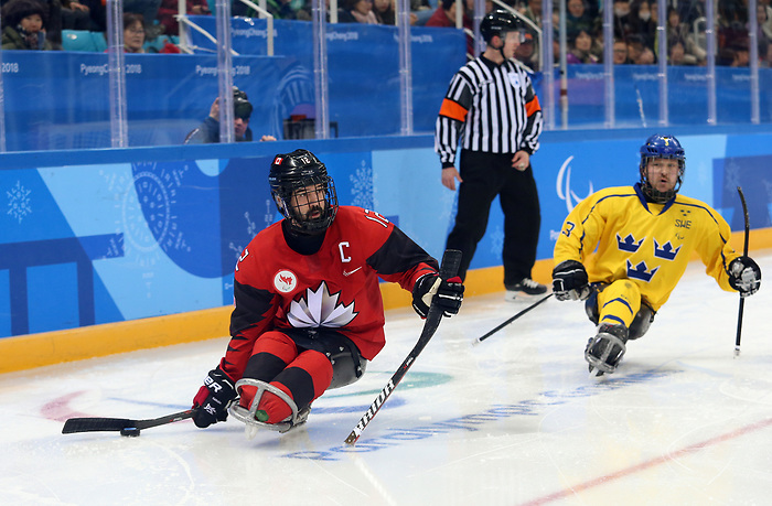 Pyeongchang, Korea, 10/3/2018-Greg Westlake of Canada plays Sweden in hockey during the 2018 Paralympic Games in PyeongChang. Photo Scott Grant/Canadian Paralympic Committee.