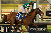ARCADIA, CA   FEBRUARY 3 : #3 Accelerate, ridden by Victor Espinoza, wins the San Pasqual Stakes (Grade ll) on February 3, 2018 at Santa Anita Park in Arcadia, CA.(Photo by Casey Phillips/ Eclipse Sortswire/ Getty Images)