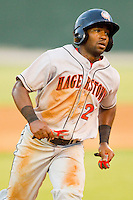 Brian Goodwin #21 of the Hagerstown Suns hustles towards third base against the Kannapolis Intimidators at CMC-Northeast Stadium on June 9, 2012 in Kannapolis, North Carolina.  The Suns defeated the Intimidators 11-6.  (Brian Westerholt/Four Seam Images)