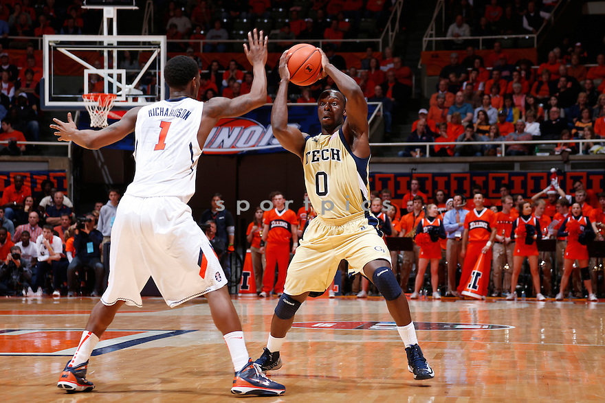 CHAMPAIGN, IL - NOVEMBER 28: Mfon Udofia #0 of the Georgia Tech Yellow Jackets looks to pass the ball against D.J. Richardson #1 of the Illinois Fighting Illini during the ACC/Big Ten Challenge at Assembly Hall on November 28, 2012 in Champaign, Illinois. Illinois won 75-62. Mfon Udofia;D.J. Richardson