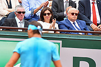 (L-R) Ken Rosewall of Australia, Mayor of Paris Anne Hidalgo and President of the French Tennis Federation (FFT) Bernard Giudicelli watching Rafael Nadal of Spain during Day 15 (Men's Final Day) of the French Open 2018 on June 10, 2018 in Paris, France. (Photo by Dave Winter/Icon Sport)