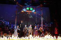 "Heidi Range, Jimmy Nail, David Essex, Michael Praed, Madalena Alberto and Daniel Bedingfield<br /> in the musical of ""The War of the Worlds"" at the Dominion Theatre, London.<br /> <br /> <br /> ©Ash Knotek  D3083 12/02/2016"