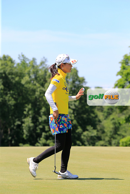 Sakura Yokomine (JPN) putts on the 9th green during Saturday's Round 3 of the 2015 KPMG Women's PGA Championship held at Westchester Country Club, Harrison, New York, USA. 6/13/2015.<br /> Picture &copy; Golffile/Eoin Clarke