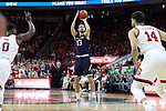 RALEIGH, NC - FEBRUARY 03: Notre Dame's Nikola Djogo (CAN). The North Carolina State Wolfpack hosted the University of Notre Dame Fighting Irish on February 3, 2018 at PNC Arena in Raleigh, NC in a Division I men's college basketball game. NC State won the game 76-58.