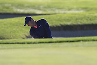 Rory McIlroy (NIR) chips from a bunker at the 1st green during Thursday's Round 1 of the 2018 AT&amp;T Pebble Beach Pro-Am, held over 3 courses Pebble Beach, Spyglass Hill and Monterey, California, USA. 8th February 2018.<br /> Picture: Eoin Clarke | Golffile<br /> <br /> <br /> All photos usage must carry mandatory copyright credit (&copy; Golffile | Eoin Clarke)