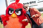 "Santiago Segura playing with Red Bird during the presentation of the film ""Angry Birds"" at Hipodromo de Zarzuela in Madrid. April 25,2016. (ALTERPHOTOS/Borja B.Hojas)"