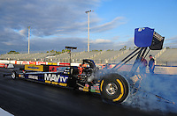 Jan. 17, 2012; Jupiter, FL, USA: NHRA top fuel dragster driver Brandon Bernstein during testing at the PRO Winter Warmup at Palm Beach International Raceway. Mandatory Credit: Mark J. Rebilas-