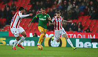 Preston North End's Lukas Nmecha shields the ball from Stoke City's James McClean<br /> <br /> Photographer Stephen White/CameraSport<br /> <br /> The EFL Sky Bet Championship - Stoke City v Preston North End - Saturday 26th January 2019 - bet365 Stadium - Stoke-on-Trent<br /> <br /> World Copyright © 2019 CameraSport. All rights reserved. 43 Linden Ave. Countesthorpe. Leicester. England. LE8 5PG - Tel: +44 (0) 116 277 4147 - admin@camerasport.com - www.camerasport.com