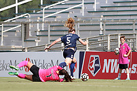 Cary, North Carolina  - Saturday July 01, 2017: Kailen Sheridan trips Samantha Mewis in the penalty box leading to a penalty kick for the Courage during a regular season National Women's Soccer League (NWSL) match between the North Carolina Courage and the Sky Blue FC at Sahlen's Stadium at WakeMed Soccer Park. Sky Blue FC won the game 1-0.