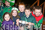The Milltown/Castlemaine supporters get their hands on the cup at the home coming in Milltown on Monday night  l-r: Emma Casey, Laura Scanlon, Adam Scanlon, Cathal Daly and Cillian Keane..