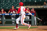 Brett Kinneman (6) of the North Carolina State Wolfpack follows through on a 3-run home run against the Boston College Eagles in Game Two of the 2017 ACC Baseball Championship at Louisville Slugger Field on May 23, 2017 in Louisville, Kentucky.  The Wolfpack defeated the Eagles 6-1. (Brian Westerholt/Four Seam Images)