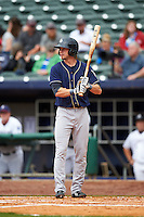 San Antonio Missions outfielder Travis Jankowski (6) at bat during a game against the NW Arkansas Naturals on May 31, 2015 at Arvest Ballpark in Springdale, Arkansas.  NW Arkansas defeated San Antonio 3-1.  (Mike Janes/Four Seam Images)