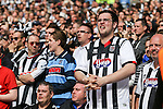 Grimsby Town fans during the penalty shoot out during the 2015 Vanarama Conference Promotion Final match between Grimsby Town and Bristol Rovers at Wembley Stadium, London<br /> Picture by David Horn/eXtreme aperture photography +44 7545 970036<br /> 17/05/2015