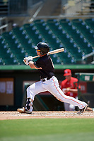 Jupiter Hammerheads center fielder Cameron Baranek (8) hits a single during a game against the Palm Beach Cardinals on August 5, 2018 at Roger Dean Chevrolet Stadium in Jupiter, Florida.  Jupiter defeated Palm Beach 3-0.  (Mike Janes/Four Seam Images)