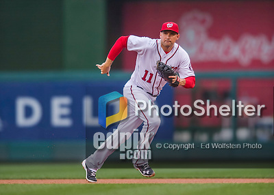 28 April 2016: Washington Nationals first baseman Ryan Zimmerman in action against the Philadelphia Phillies at Nationals Park in Washington, DC. The Phillies shut out the Nationals 3-0 to sweep their mid-week, 3-game series. Mandatory Credit: Ed Wolfstein Photo *** RAW (NEF) Image File Available ***