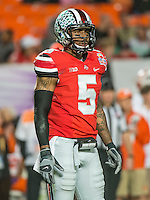 January 3, 2014 - Miami Gardens, Florida, U.S: Ohio State Buckeyes quarterback Braxton Miller (5) during the Discover Orange Bowl between the Clemson Tigers and the Ohio State Buckeyes at Sun Life Stadium in Miami Gardens, Fl