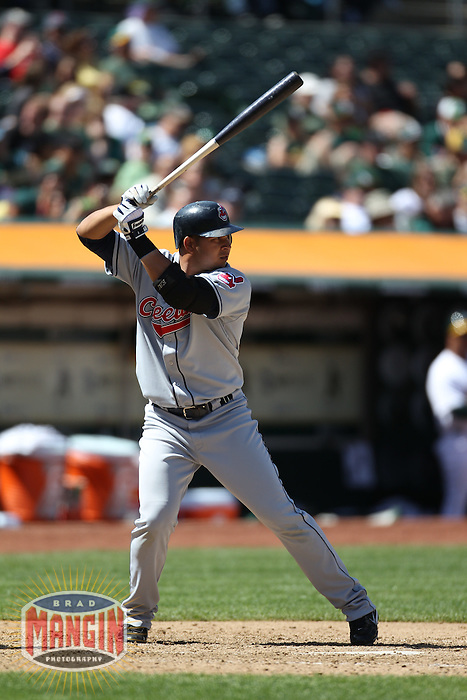 OAKLAND, CA - APRIL 24:  Jhonny Peralta #2 of the Cleveland Indians bats against the Oakland Athletics during the game at Oakland-Alameda County Coliseum on April 24, 2010 in Oakland, California. Photo by Brad Mangin