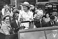 HRH Princess Margaret travels in an open-top Land Rover at Balmoral Show, Belfast, during a visit to N Ireland on 26th May 1967. 1967052601b<br /> <br /> Copyright Image from Victor Patterson, 54 Dorchester Park, Belfast, UK, BT9 6RJ<br /> <br /> t1: +44 28 9066 1296 (from Rep of Ireland 048 9066 1296)<br /> t2: +44 28 9002 2446 (from Rep of Ireland 048 9002 2446)<br /> m: +44 7802 353836<br /> <br /> e1: victorpatterson@me.com<br /> e2: victorpatterson@gmail.com<br /> <br /> The use of my copyright images is subject to my Terms &amp; Conditions.<br /> <br /> It is IMPORTANT that you familiarise yourself with them. They are available on my website at www.victorpatterson.com.<br /> <br /> None of my copyright images may be used on a website unless they are visibly watermarked, i.e. &copy; Victor Patterson within the body of the visible image. Metadata denoting my copyright must NOT be deleted. <br /> <br /> Web use (maximum size - 300 kb) is extra at currently recommended NUJ rates.