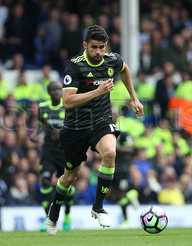 April 30th 2017, Goodison Park, Liverpool, England; EPL Premier league football, Everton versus Chelsea; Diego Costa of Chelsea runs at the Everton goal