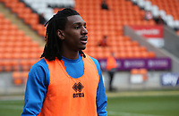 Blackpool's Sessi D'Almeida during the pre-match warm-up <br /> <br /> Photographer Stephen White/CameraSport<br /> <br /> The EFL Sky Bet League One - Blackpool v Bristol Rovers - Saturday 13th January 2018 - Bloomfield Road - Blackpool<br /> <br /> World Copyright &copy; 2018 CameraSport. All rights reserved. 43 Linden Ave. Countesthorpe. Leicester. England. LE8 5PG - Tel: +44 (0) 116 277 4147 - admin@camerasport.com - www.camerasport.com