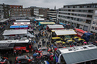 Teambus parking from above. <br /> Rainy day at the 73th Dwars Door Vlaanderen (1.UWT)<br /> 1day race: Roeselare › Waregem BEL (180km)