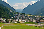 Small Swiss village of Privilasco, a town in the Valposchiavo valley which the Bernina Express passes on the way to and from Tirano, Italy and St. Mortiz, Switzerland