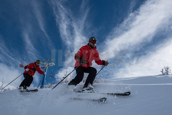 Members of an Israeli ski patrol check the Mount Hermon ski resort, in the Israeli-occupied Golan Heights, on January 10, 2019. Photo by: Ayal Margolin-JINIPIX