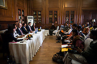 (L-R) Kathryn Deyell (DFAT) opens the question and answer session as Pallavi Sharda (OzFest ambassador), Dr. Lachlan Strahan (Australian Deputy High Commissioner to India), Maharaj Narendra Singh (Maharaj of Jaipur), Nik Senapati (Rio Tinto Managing Director), and Yunus Khimani (of the Jaipur Palace) sit together during a press conference on Oz Fest in Raj Mahal Palace hotel, Jaipur, India on 10th January 2013. Photo by Suzanne Lee/DFAT