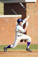 Tony Fortier-Bensen (8) of the High Point Panthers follows through on his swing against the Bowling Green Falcons at Willard Stadium on March 9, 2014 in High Point, North Carolina.  The Falcons defeated the Panthers 7-4.  (Brian Westerholt/Four Seam Images)