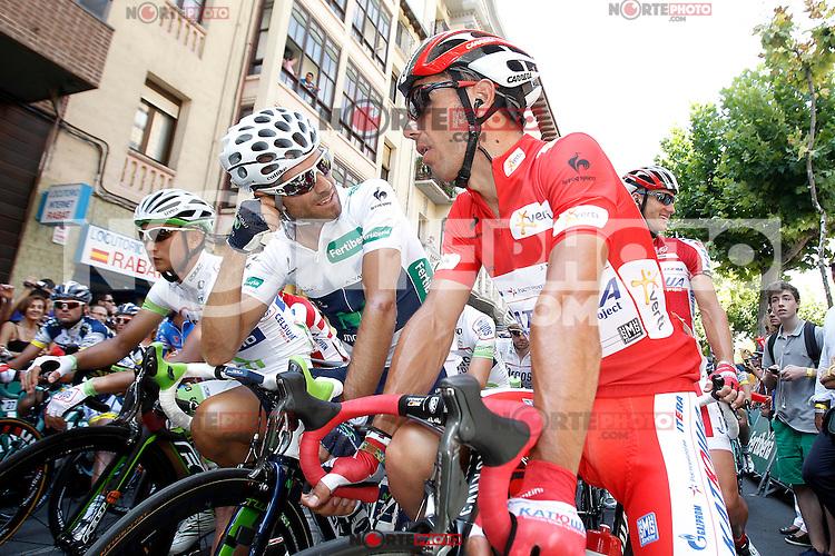 Cheng Ji (l), Alejandro Valverde (c) and Joaquin Purito Rodriguez during the stage of La Vuelta 2012 between Logroño and Logroño.August 22,2012. (ALTERPHOTOS/Acero) /NortePhoto.com<br /> <br /> **SOLO*VENTA*EN*MEXICO**<br /> **CREDITO*OBLIGATORIO**<br /> *No*Venta*A*Terceros*<br /> *No*Sale*So*third*<br /> *** No Se Permite Hacer Archivo**<br /> *No*Sale*So*third*