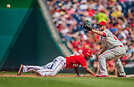 15 September 2013: Philadelphia Phillies first baseman Kevin Frandsen holds the diving Denard Span at first on a pickoff attempt during a game against the Washington Nationals at Nationals Park in Washington, DC. The Nationals took the rubber match of their 3-game series 11-2 to keep Washington's wildcard hopes alive. Mandatory Credit: Ed Wolfstein Photo *** RAW (NEF) Image File Available ***