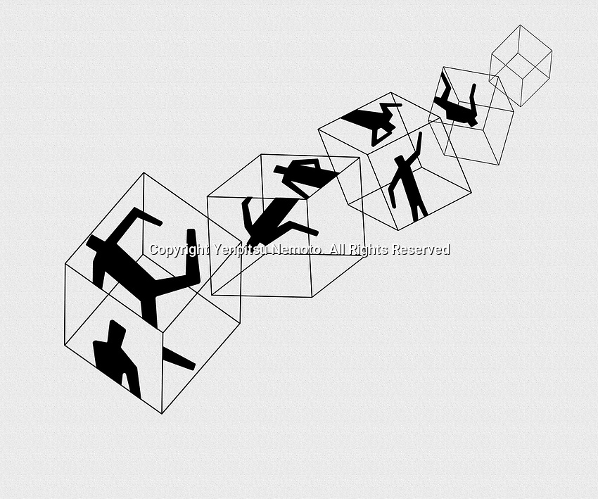 Silhouette people trapped inside of cubes