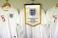 A pennant of the match on the captain's peg in the England dressing room ahead of kick-off during Chile Under-21 vs England Under-20, Tournoi Maurice Revello Football at Stade Parsemain on 7th June 2019