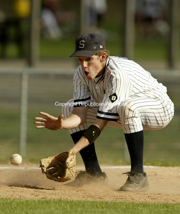 WASHINGTON, CT--09 MARCH 2005- 050905JS04-- Shepaug's Mike Horrigan fields a ground ball during their game against Wamogo at Ted Alex Field in Washington on Monday. Shepaug defeated Wamogo 5-1. <br /> --Jim Shannon Photo---Mike Horrigan, Shepaug, Wamogo are CQ