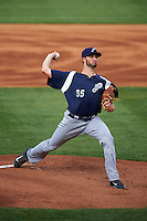 Pensacola Blue Wahoos pitcher Timothy Adleman (35) delivers a pitch during a game against the Mississippi Braves on May 28, 2015 at Trustmark Park in Pearl, Mississippi.  Mississippi  defeated Pensacola 4-2.  (Mike Janes/Four Seam Images)