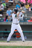 Mike Papi (38) of the Lynchburg Hillcats at bat against the Frederick Keys at Calvin Falwell Field at Lynchburg City Stadium on May 14, 2015 in Lynchburg, Virginia.  The Hillcats defeated the Keys 6-3.  (Brian Westerholt/Four Seam Images)