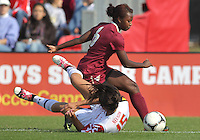 COLLEGE PARK, MD - OCTOBER 21, 2012:  Erika Nelson (15) of the University of Maryland is fouled by Jessica Price (6) of Florida State during an ACC women's match at Ludwig Field in College Park, MD. on October 21. Florida won 1-0.