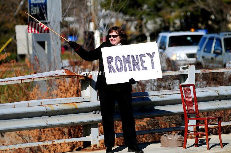 PLYMOUTH, CT, 06 NOV 12-11062AJ04- .Patti DeHuff of Terryville campaigns for Mitt Romney Tuesday morning at the intersection of Routes 6 and 72 in Terryville. Alec Johnson/ Republican-American
