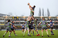 Luke Charteris of Bath Rugby rises high to win lineout ball. Anglo-Welsh Cup match, between Bath Rugby and Newcastle Falcons on January 27, 2018 at the Recreation Ground in Bath, England. Photo by: Patrick Khachfe / Onside Images