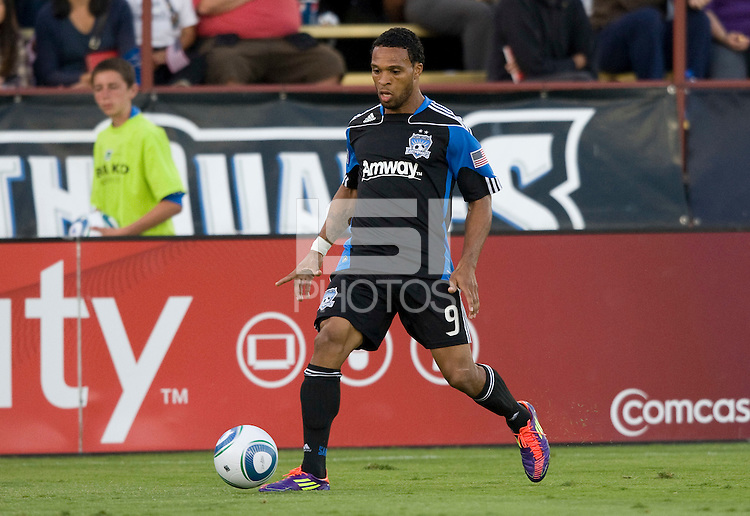 Scott Sealy of Earthquakes in action during the game against DC United at Buck Shaw Stadium in Santa Clara, California on July 30th, 2011.   DC United defeated San Jose Earthquakes, 2-0.