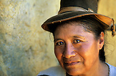 San Juan del Oro, Peru. Portrait of a woman with a hat.