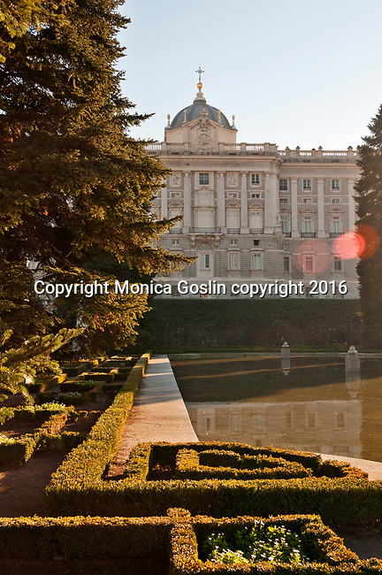 Sabatini gardens and the Royal Palace in Madrid Spain; Royal Palace in Madrid