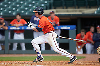 Andy Weber (19) of the Virginia Cavaliers follows through on his swing against the Duke Blue Devils in Game Seven of the 2017 ACC Baseball Championship at Louisville Slugger Field on May 25, 2017 in Louisville, Kentucky. The Blue Devils defeated the Cavaliers 4-3. (Brian Westerholt/Four Seam Images)