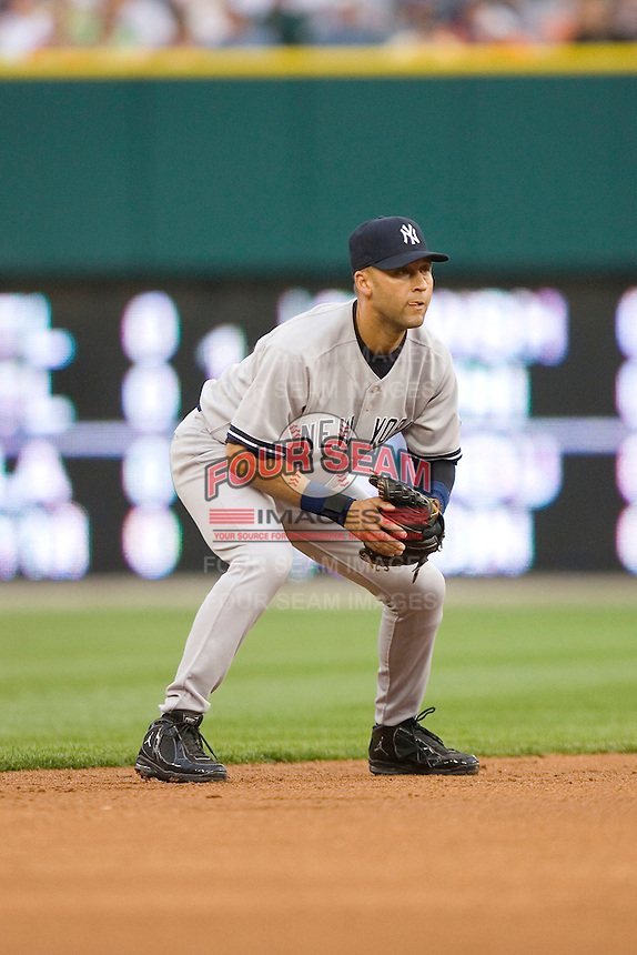 Shortstop Derek Jeter #2 of the New York Yankees on defense against the Detroit Tigers at Comerica Park April 27, 2009 in Detroit, Michigan.  Photo by Brian Westerholt / Four Seam Images