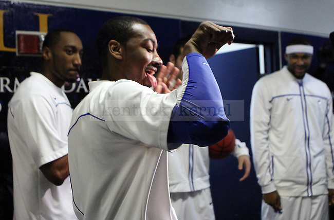 John Wall dances with the team on the way out to UK's game against Mississippi State  at Bridgestone Arena in the SEC Finals on Sunday, March 14, 2010. Photo by Britney McIntosh | Staff